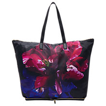 Buy Ted Baker Alene Impressionist Bloom Foldaway Shopper Bag, Black Online at johnlewis.com