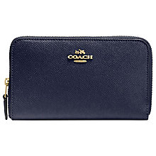 Buy Coach Crossgrain Leather Medium Zip Around Wallet, Navy Online at johnlewis.com