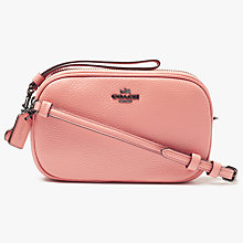 Buy Coach Small Leather Across Body Clutch Bag, Melon Online at johnlewis.com