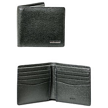 Buy BOSS Signature 8 Card Textured Leather Wallet, Grey Online at johnlewis.com