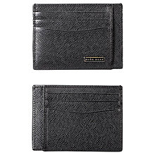 Buy BOSS Signature Leather Card Holder, Grey Online at johnlewis.com