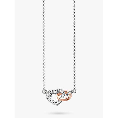 Buy thomas sabo rebel at heart linked together heart 18ct diamond buy thomas sabo rebel at heart linked together heart 18ct diamond necklace silverrose mozeypictures Choice Image