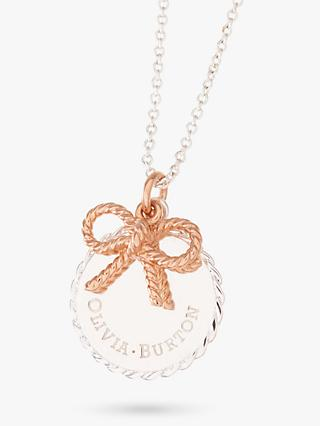 Olivia Burton Coin and Bow Pendant Necklace, Silver/Rose Gold OBJ16VBN05