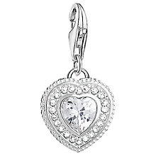 Buy Thomas Sabo Charm Club Cubic Zirconia Antique Heart Charm, Silver Online at johnlewis.com