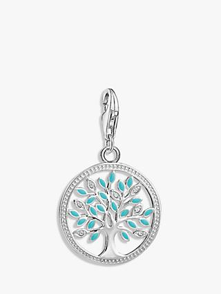 THOMAS SABO Charm Club Cubic Zirconia Tree of Love Charm, Silver/Turquoise