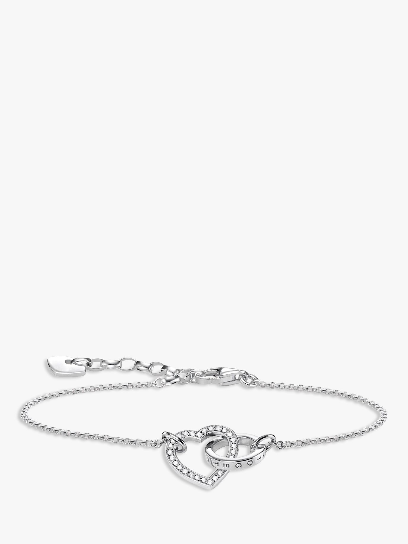 Thomas Sabo THOMAS SABO Glam & Soul Together Forever Cubic Zirconia Heart and Ring Chain Bracelet, Silver