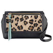 Buy Radley Kemble Street Leather Animal Print Small Flap Cross Body, Black/Multi Online at johnlewis.com