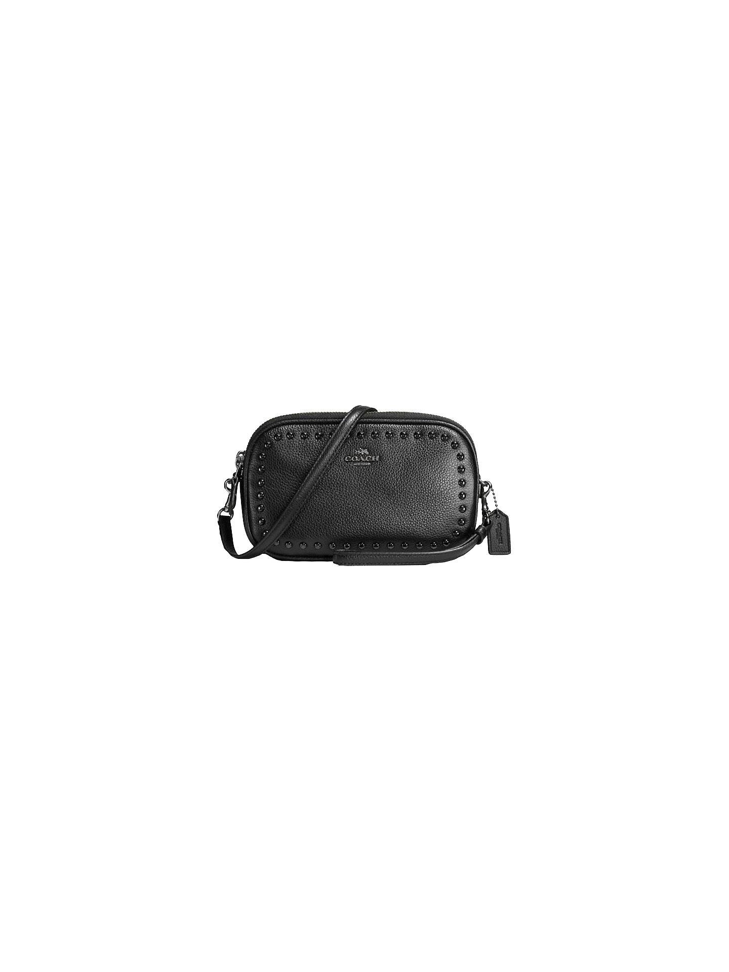 81d9061a9 Buy Coach Rivets Leather Cross Body Clutch Bag, Black Online at  johnlewis.com