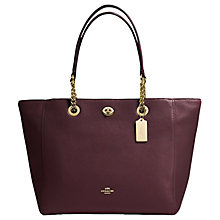 Buy Coach Turnlock Cross Grain Leather Tote Bag, Oxblood Online at johnlewis.com