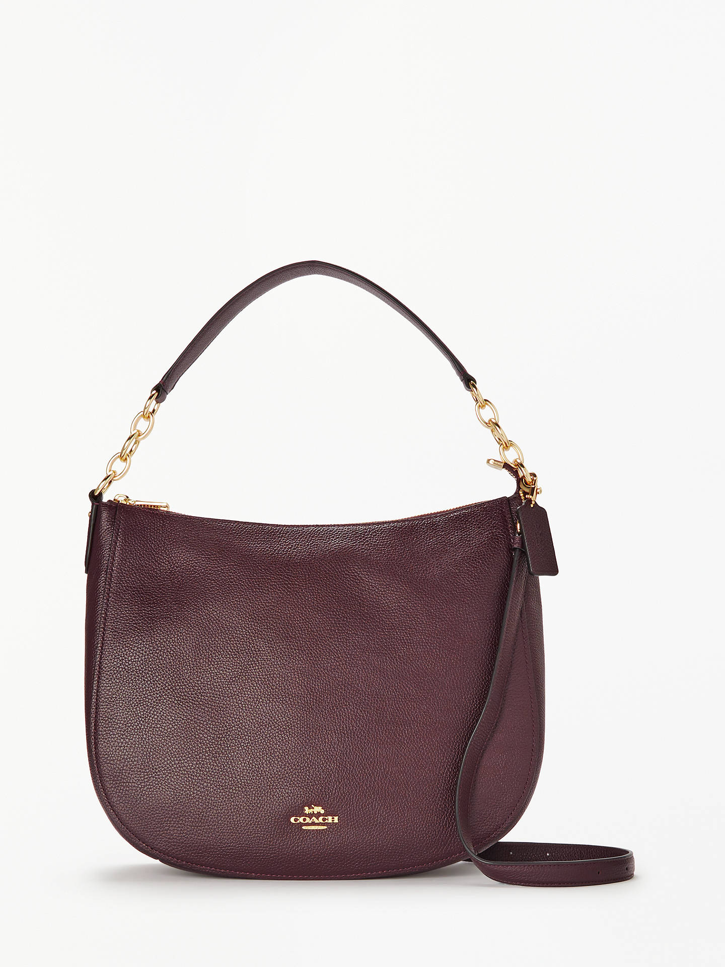 Coach Chelsea 32 Polished Leather Hobo Bag Oxblood Online At Johnlewis