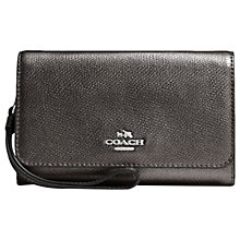 Buy Coach Leather Phone Clutch Purse, Gunmetal Online at johnlewis.com