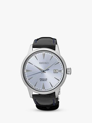 Seiko Men's Presage Automatic Date Leather Strap Watch