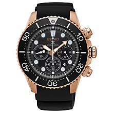 Buy Seiko SSC618P1 Men's Prospex Silicone Strap Divers Watch, Black/Rose Gold Online at johnlewis.com