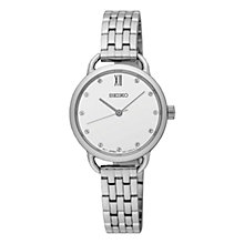 Buy Seiko SUR697P1 Women's Swarovski Crystal Bracelet Strap Watch, Silver/White Online at johnlewis.com