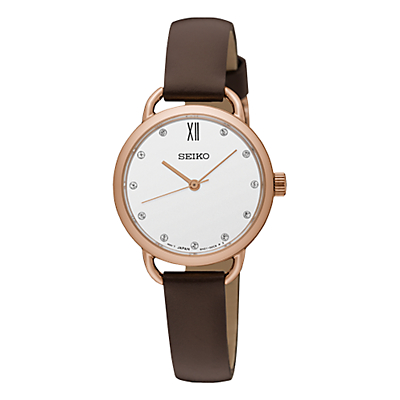 Seiko SUR698P2 Women's Conceptual Leather Strap Watch, Brown/White