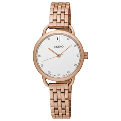 Seiko SUR698P1 Women's Swarovski Crystal Bracelet Strap Watch, Rose Gold/White
