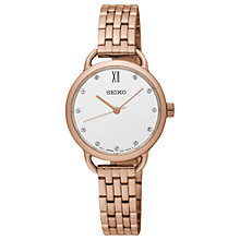 Buy Seiko SUR698P1 Women's Conceptual Swarovski Crystal Bracelet Strap Watch, Rose Gold/White Online at johnlewis.com