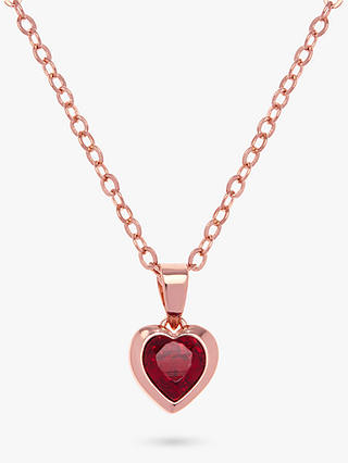 Buy Ted Baker Hannela Swarovski Crystal Heart Necklace, Rose Gold/Red Online at johnlewis.com