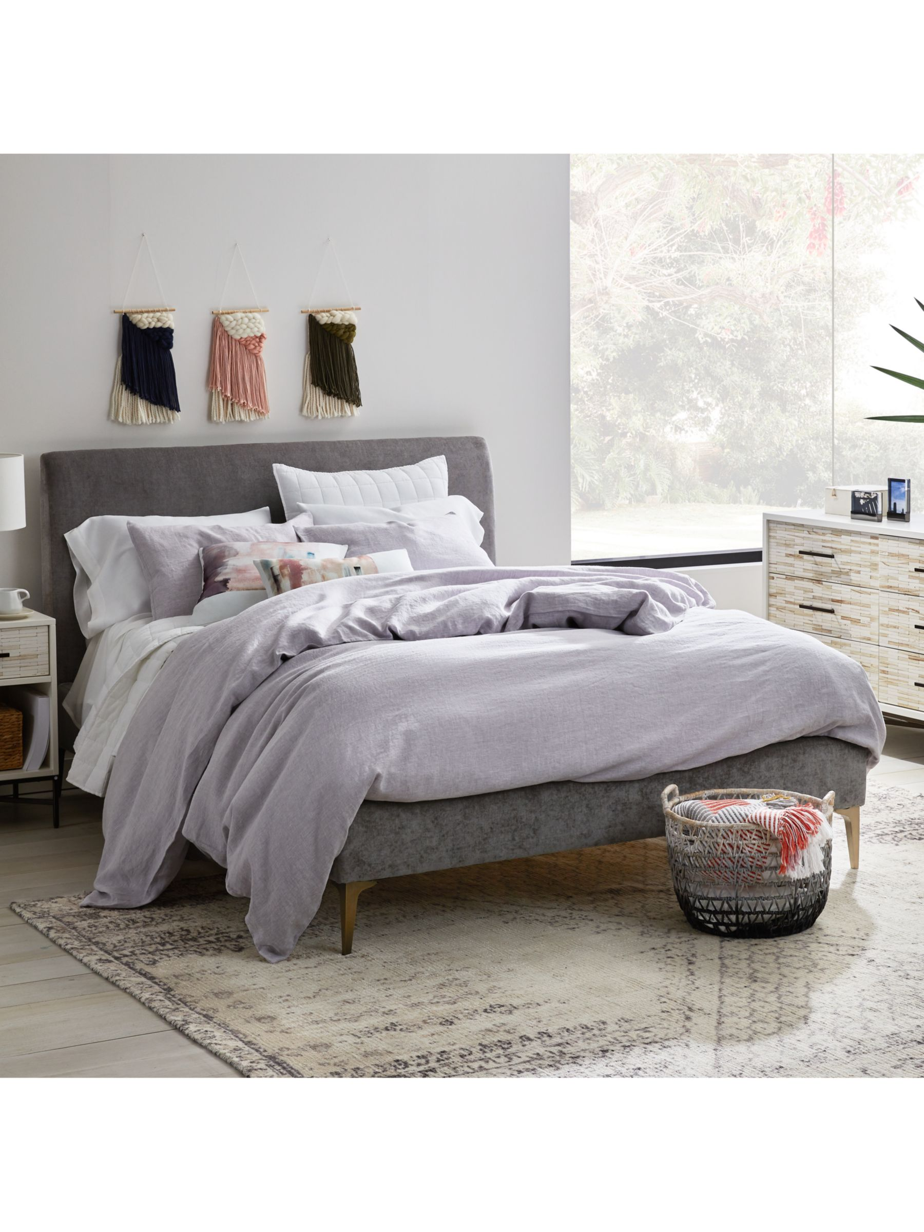 West Elm Andes Deco Upholstered Bed Frame Double Grey At John Lewis Partners