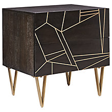 Buy Roar + Rabbit for west elm Geo Inlay 2 Drawer Bedside Table, Ebony/Brass Online at johnlewis.com