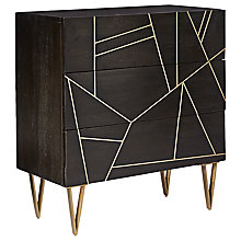 Buy Roar + Rabbit for west elm Geo Inlay 3 Drawer Chest, Ebony/Brass Online at johnlewis.com