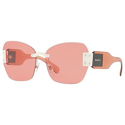 Miu Miu MU 08SS Oversize Cat's Eye Sunglasses, Crystal Pink