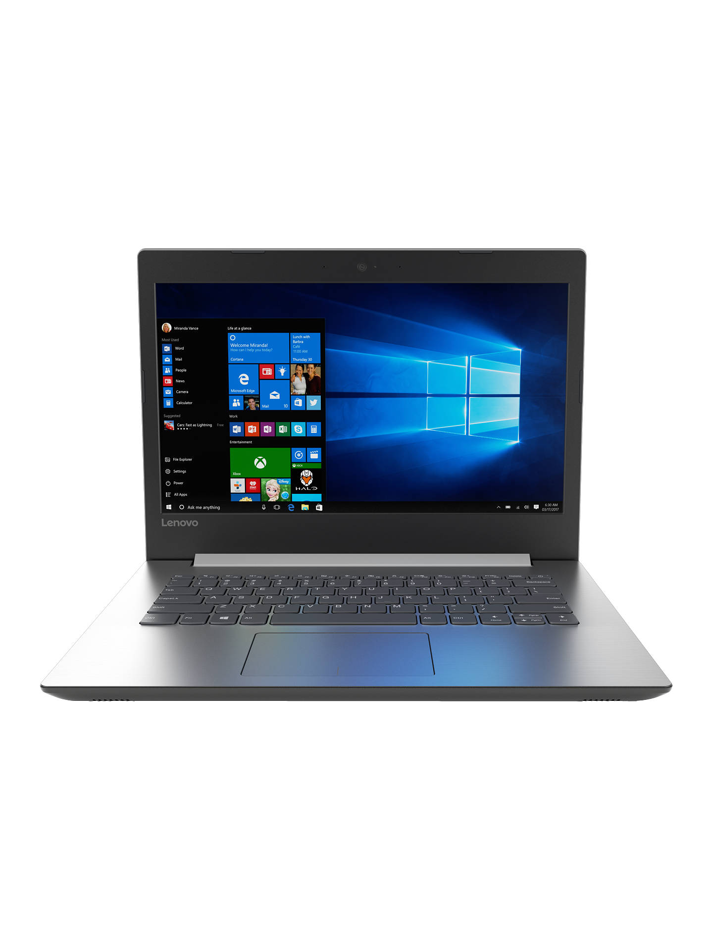 "Buy Lenovo IdeaPad 320 Laptop, Intel Core i3, 8GB RAM, 128GB SSD, 14"", Platinum Grey Online at johnlewis.com"