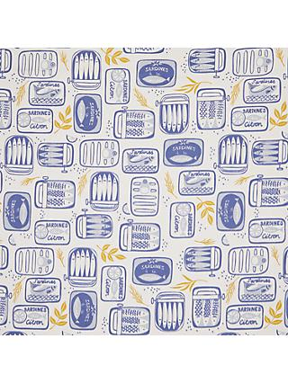 John Lewis & Partners Sardines in a Tin PVC Tablecloth Fabric, Blue