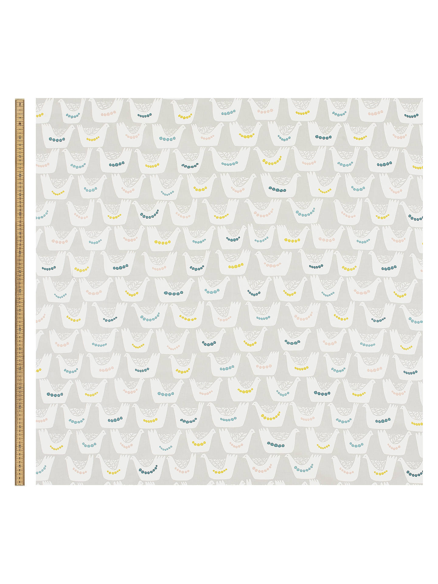 Buy John Lewis & Partners Scandi Birds PVC Tablecloth Fabric, Grey Online at johnlewis.com