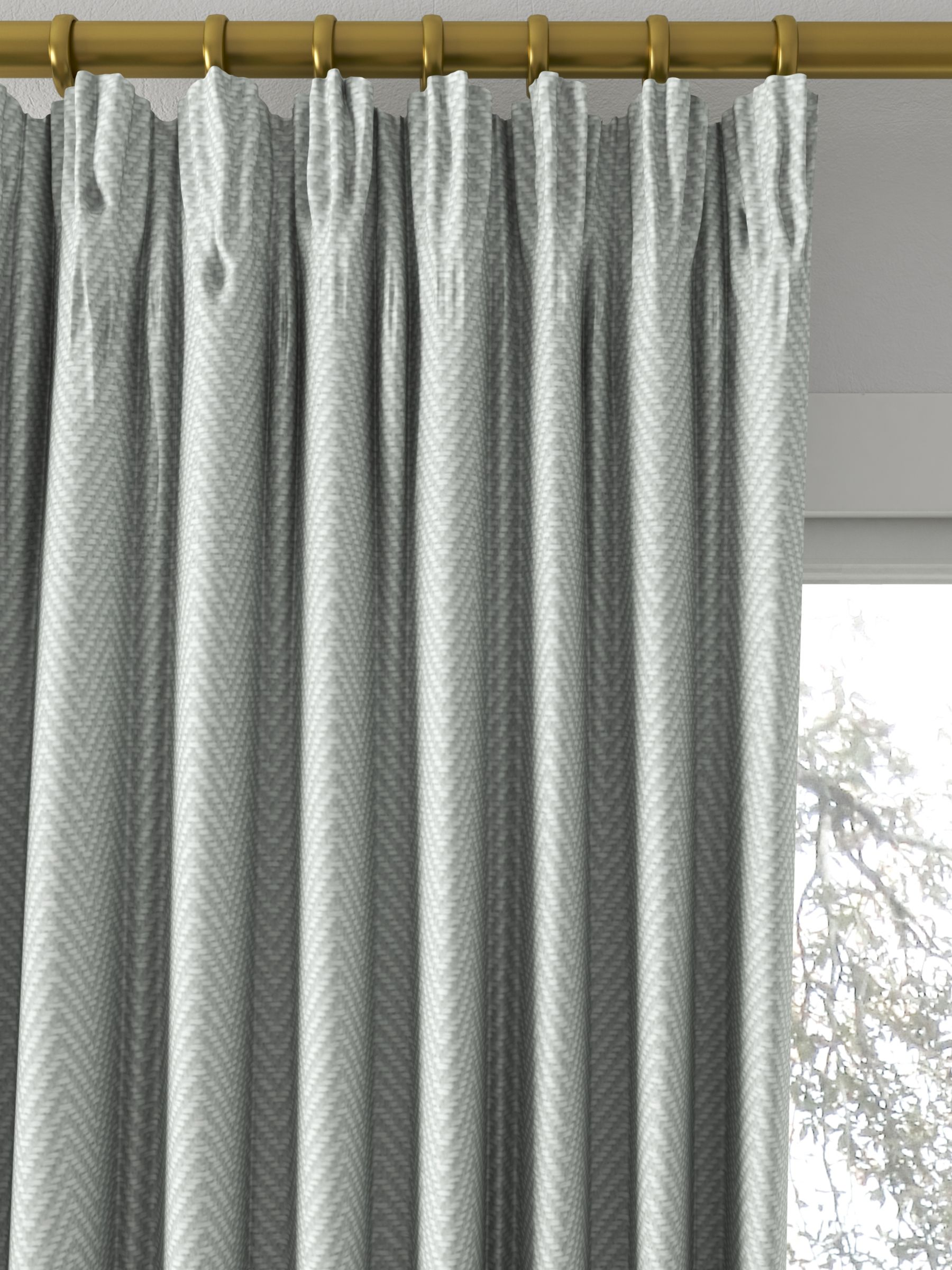 John Lewis Partners Herringbone Made To Measure Curtains Nettle Green At John Lewis Partners
