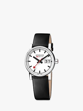 Mondaine Unisex Evo 2 Date Leather Strap Watch