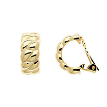 Buy Finesse Large Textured Hoop Clip-On Earrings, Gold Online at johnlewis.com