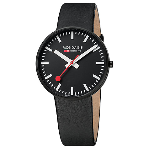 Buy Mondaine A6603032864SBB Unisex Evo Giant Leather Strap Watch, Black Online at johnlewis.com