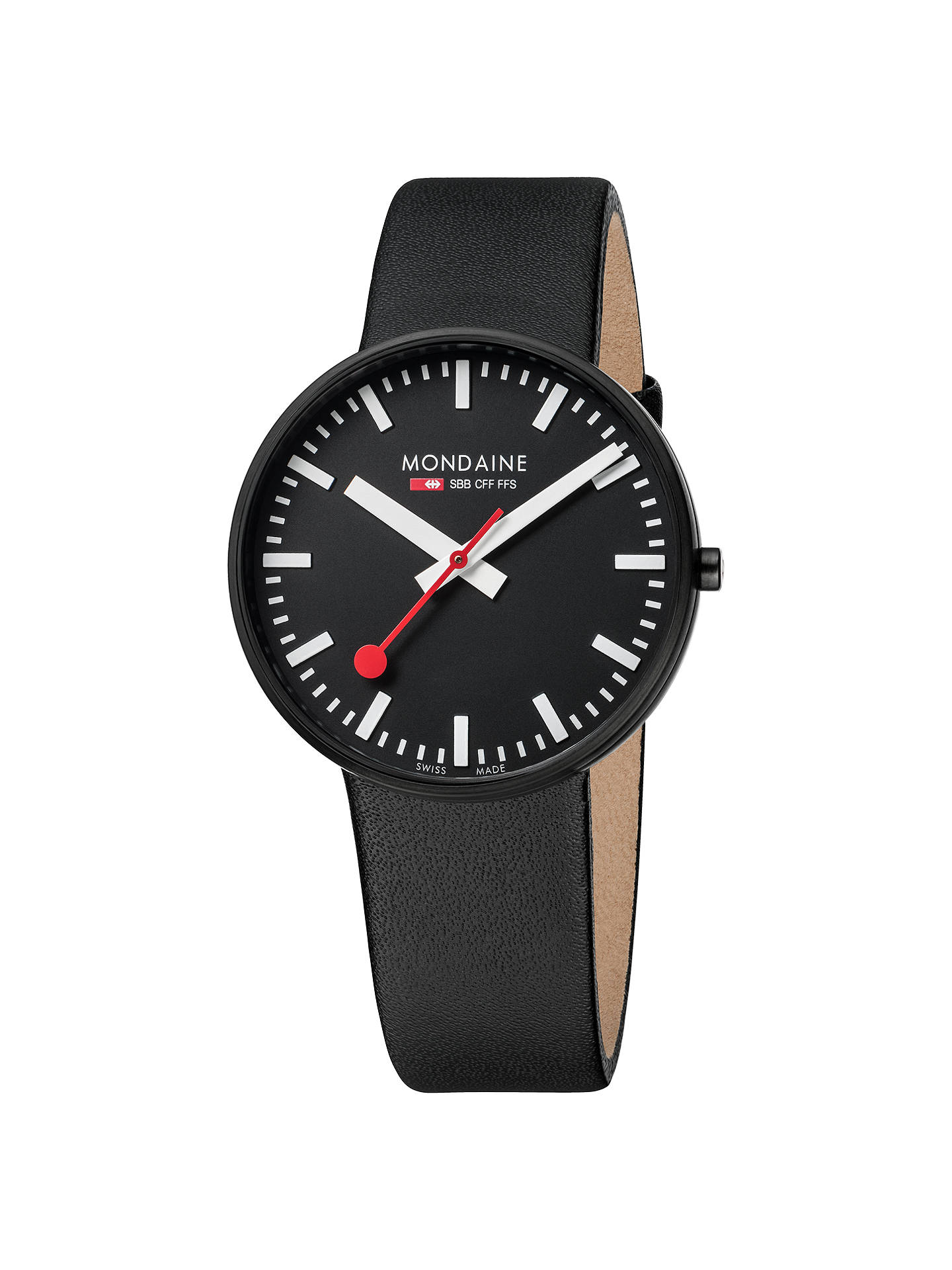 BuyMondaine A6603032864SBB Unisex Evo Giant Leather Strap Watch, Black Online at johnlewis.com