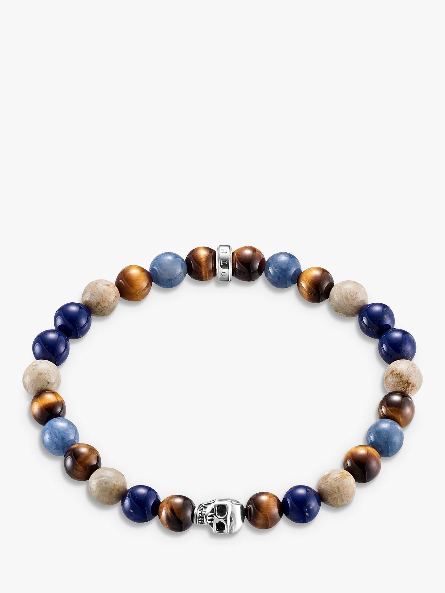 c2d3b86eab4 Buy THOMAS SABO Men's Sterling Silver Rebel At Heart Skull Stretch Bracelet,  Multi Online at ...