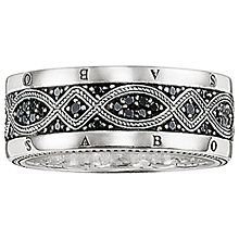 Buy Thomas Sabo Men's Rebel At Heart Love Knot Sterling Silver Black Zirconia Pavé Ring, Silver/Black Online at johnlewis.com
