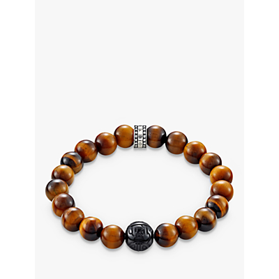 THOMAS SABO Men's Rebel At Heart Beaded Tiger Eye Bracelet, Deep Orange/Black