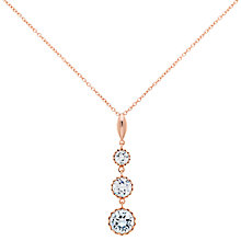 Buy Finesse Cubic Zirconia Three Tiered Scalloped Stone Necklace, Rose Gold Online at johnlewis.com
