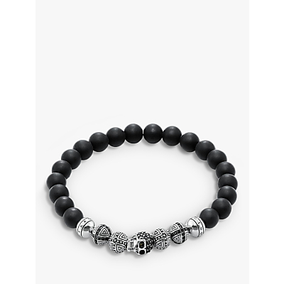 THOMAS SABO Men's Sterling Silver Rebel At Heart Obsidian Bead Skull Stretch Bracelet, Black/Si