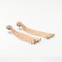 Buy Pieces Joshua Long Pearl Earrings, Beige/Evening Sand Online at johnlewis.com