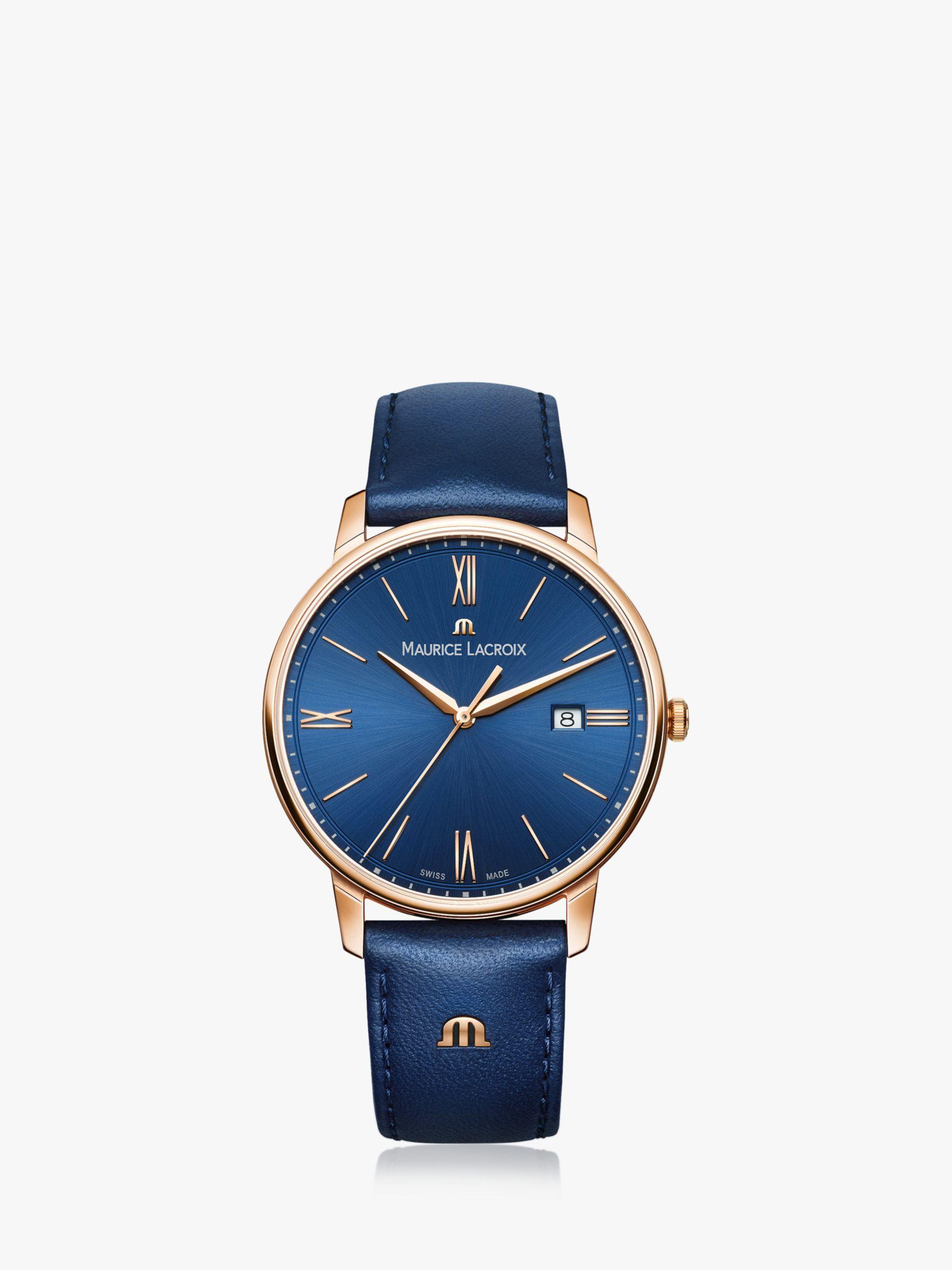 Maurice Lacroix Maurice Lacroix EL1118-PVP01-411-1 Men's Eliros Date Leather Strap Watch, Blue
