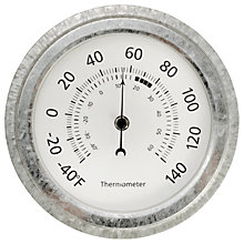 "Buy Garden Trading St Ives 8"" Galvanised Steel Thermometer, Silver Online at johnlewis.com"