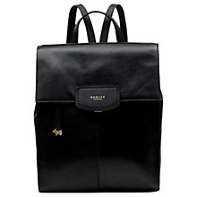Buy Radley Burnham Beeches Leather Large Flapover Backpack, Black Online at johnlewis.com
