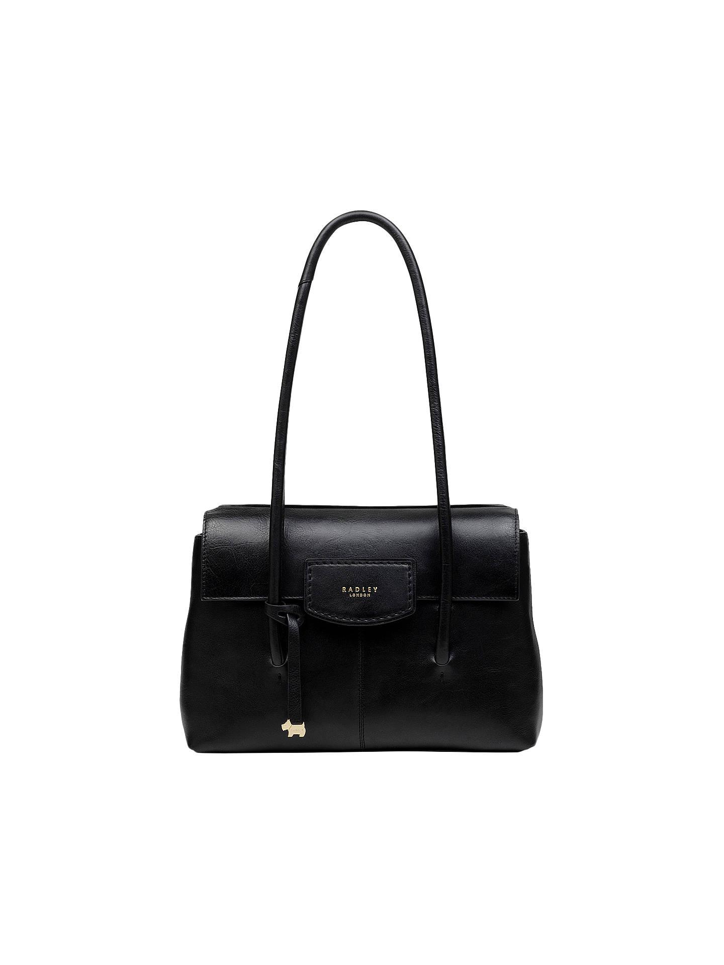 BuyRadley Burnham Beeches Leather Medium Flapover Tote Bag, Black Online at  johnlewis.com ... 33b6bfa08c