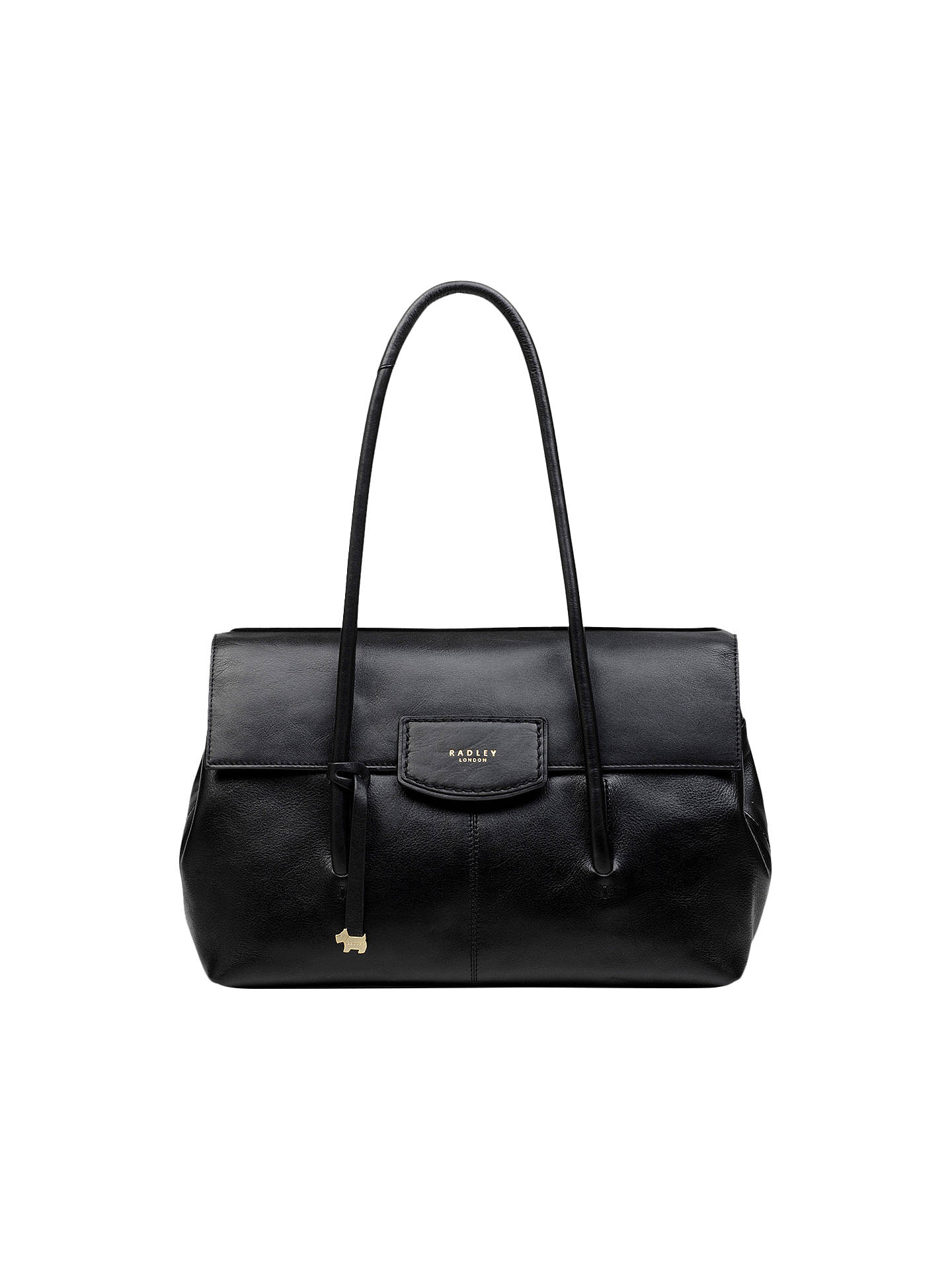 f662da1177dd2 Buy Radley Burnham Beeches Leather Large Flapover Shoulder Bag, Black  Online at johnlewis.com ...