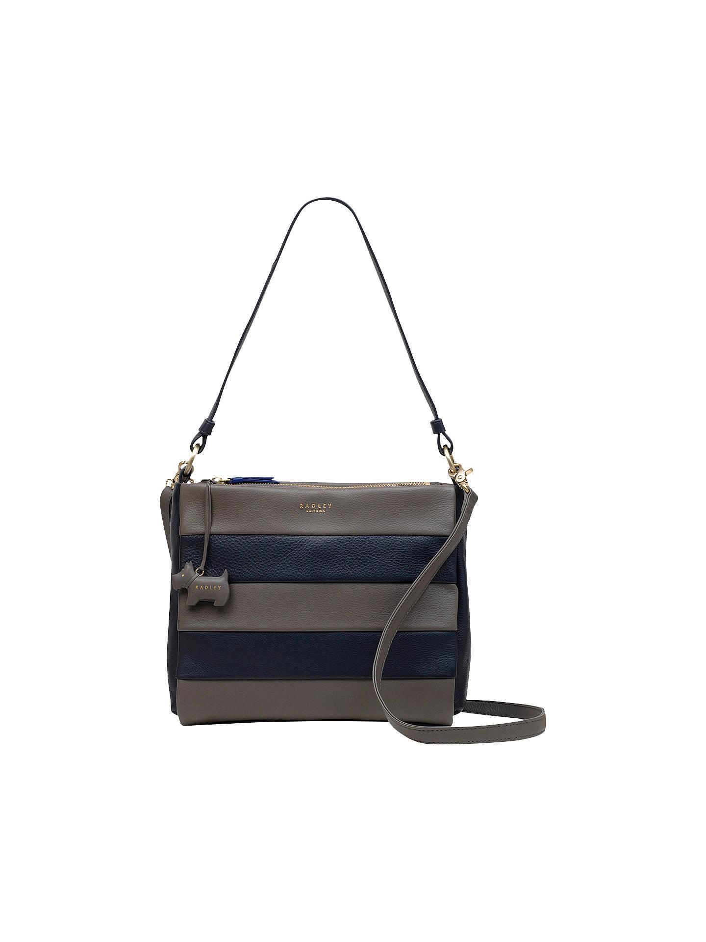Radley Syon Park Medium Leather Shoulder Bag Navy Grey Online At Johnlewis