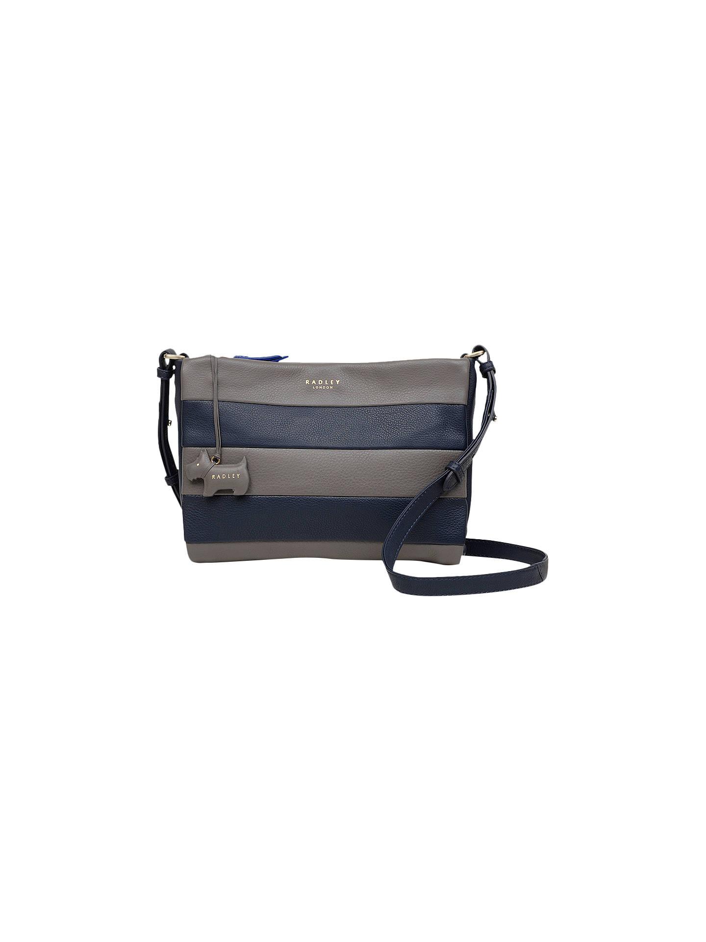 Radley Syon Park Medium Leather Cross Body Bag Grey Navy Online At Johnlewis
