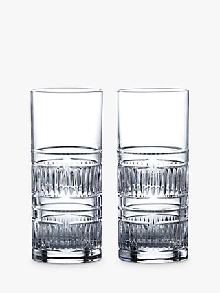 Royal Doulton R&D Collection Radial Crystal Cut Glass Highballs, 320ml, Set of 2