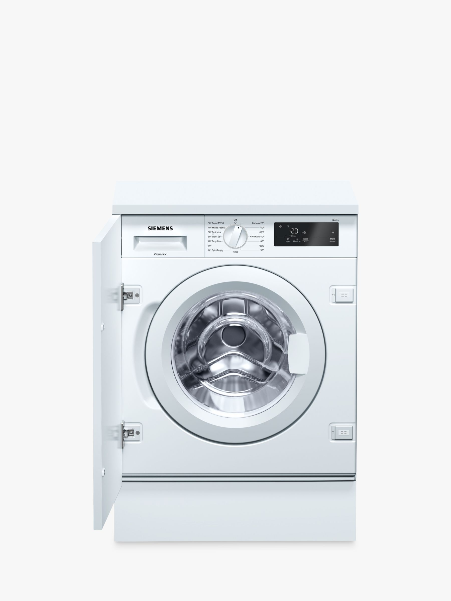 Siemens Siemens WI14W300GB Integrated Washing Machine, 8kg Load, A+++ Energy Rating, 1355rpm Spin, White