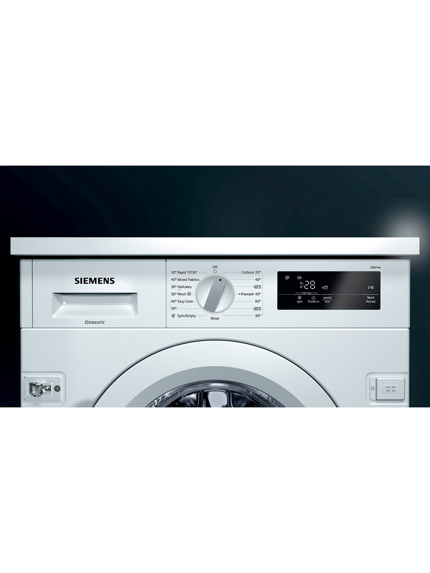 Buy Siemens WI14W300GB Integrated Washing Machine, 8kg Load, A+++ Energy Rating, 1355rpm Spin, White Online at johnlewis.com